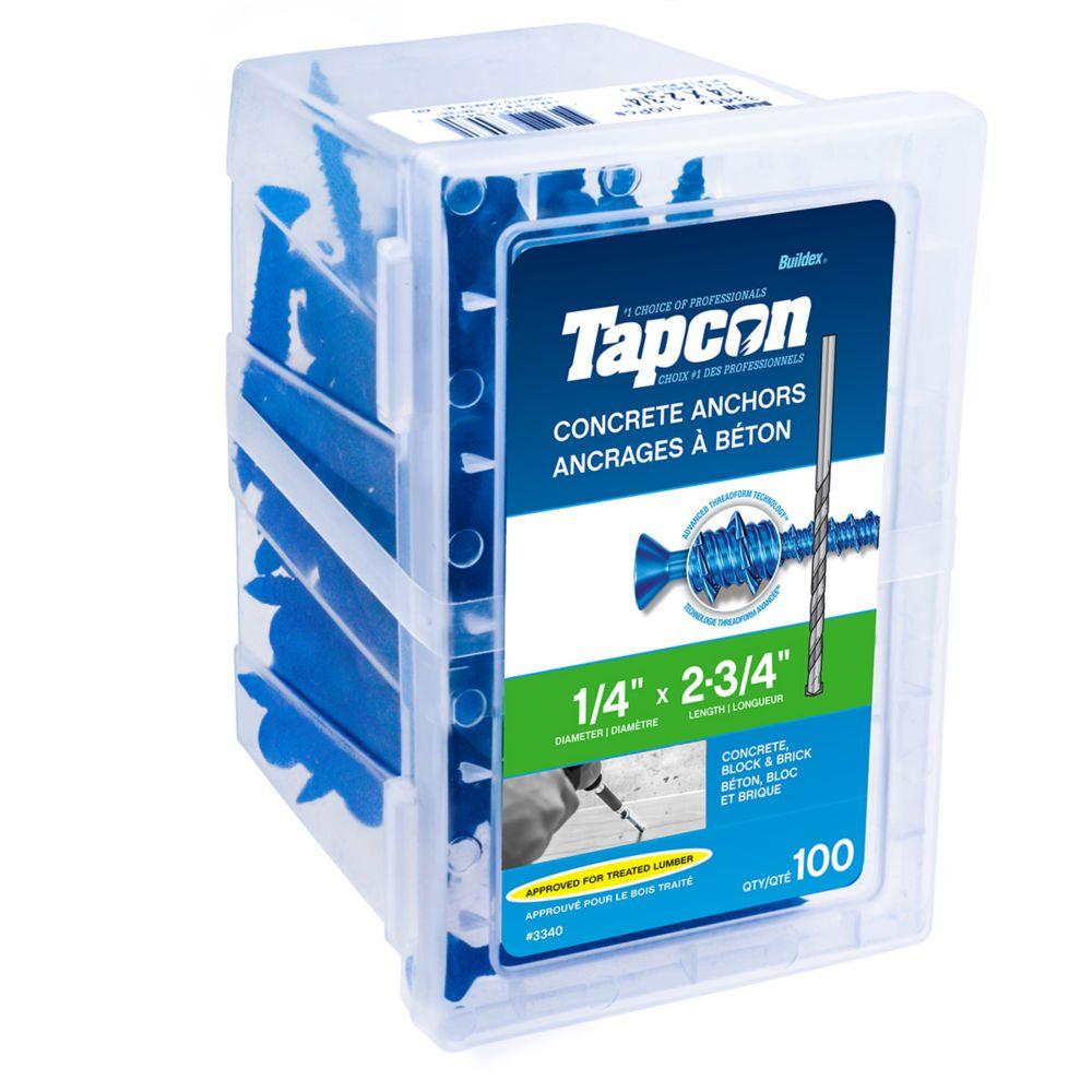 Cheville pour béton 1/4 X 2 3/4 tête plate Tapcon<sup>®</sup>