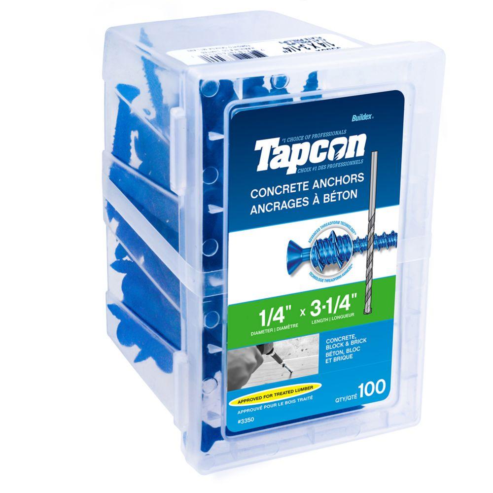 Cheville pour béton 1/4 X3 1/4 tête plate Tapcon<sup>®</sup>