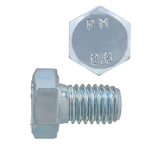 M8-1.25 x 12mm Class 8.8 Metric Hex Cap Screw - DIN 933 - Zinc Plated