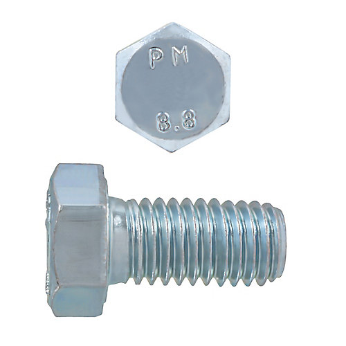 M8-1.25 x 16mm Class 8.8 Metric Hex Cap Screw - DIN 933 - Zinc Plated