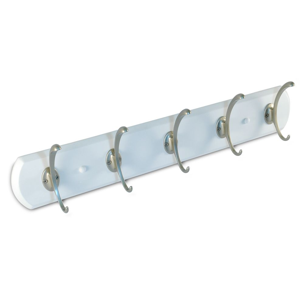 22 In. White Board with 5 Hooks - Pewter