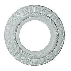 Hampton Bay 9-inch Medallion Fixture Accent with Rope and Petal Pattern in Matte White Finish