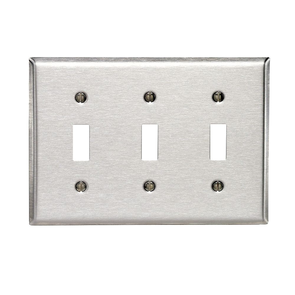 3-Gang Toggle Wallplate, Stainless Steel