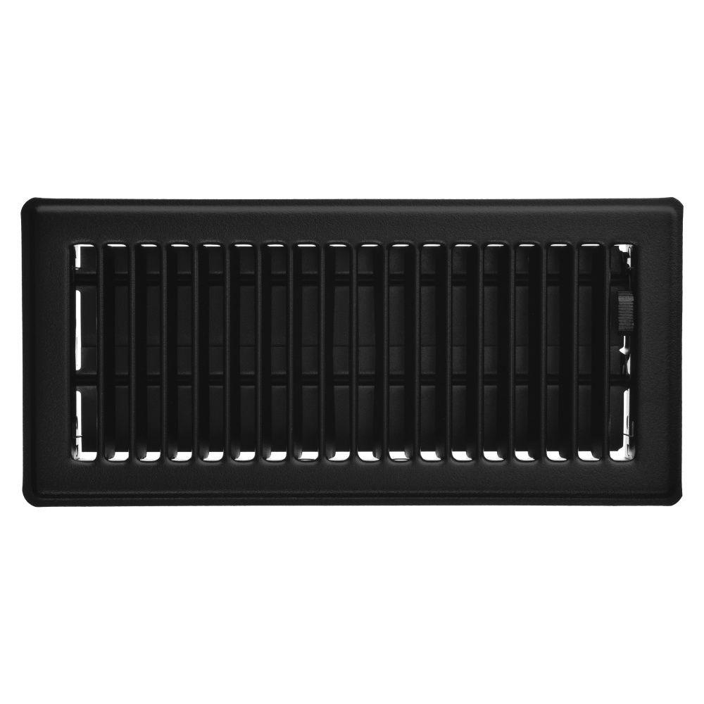 4 Inch x 10 inch Black Victorian Floor Register