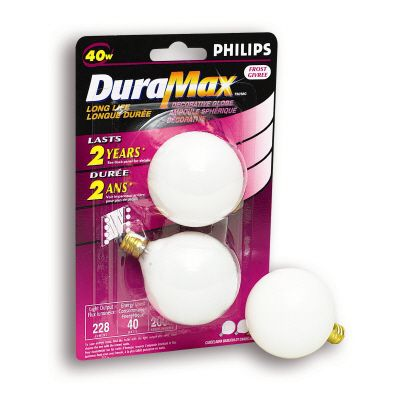 Duramax 40 Watt G16 White Candelabra Incandescent Globe Light Bulb 2 PK