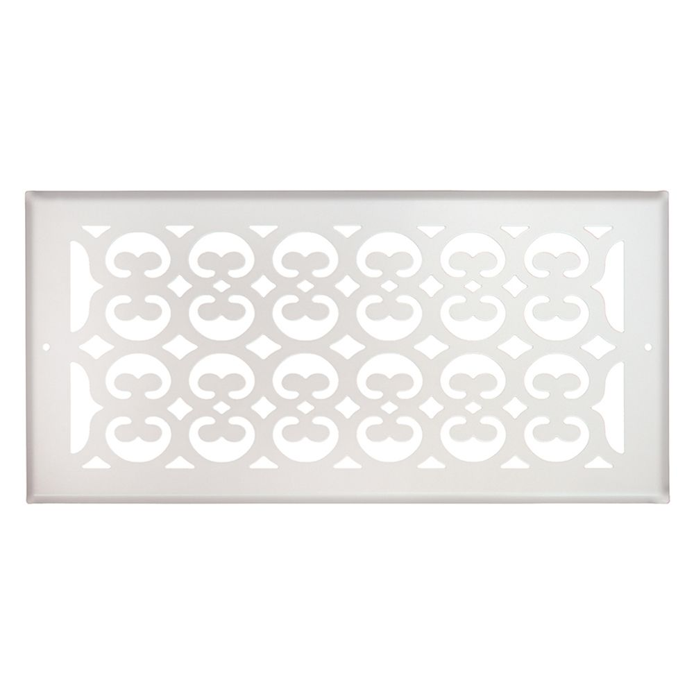 6 Inch x 14 inch White Victorian Sidewall Grille