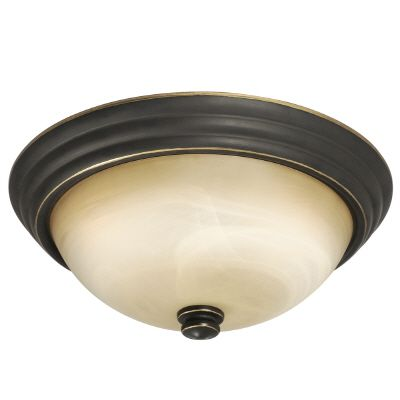Hampton Bay Flushmount Ceiling Light Fixture in Bronze with Marbled Glass