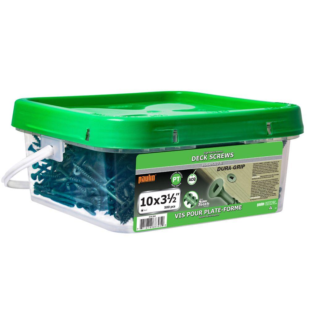Paulin 10 x 3-1/2-inch Square Drive Flat Head Green Deck Screw UNC - 500pcs