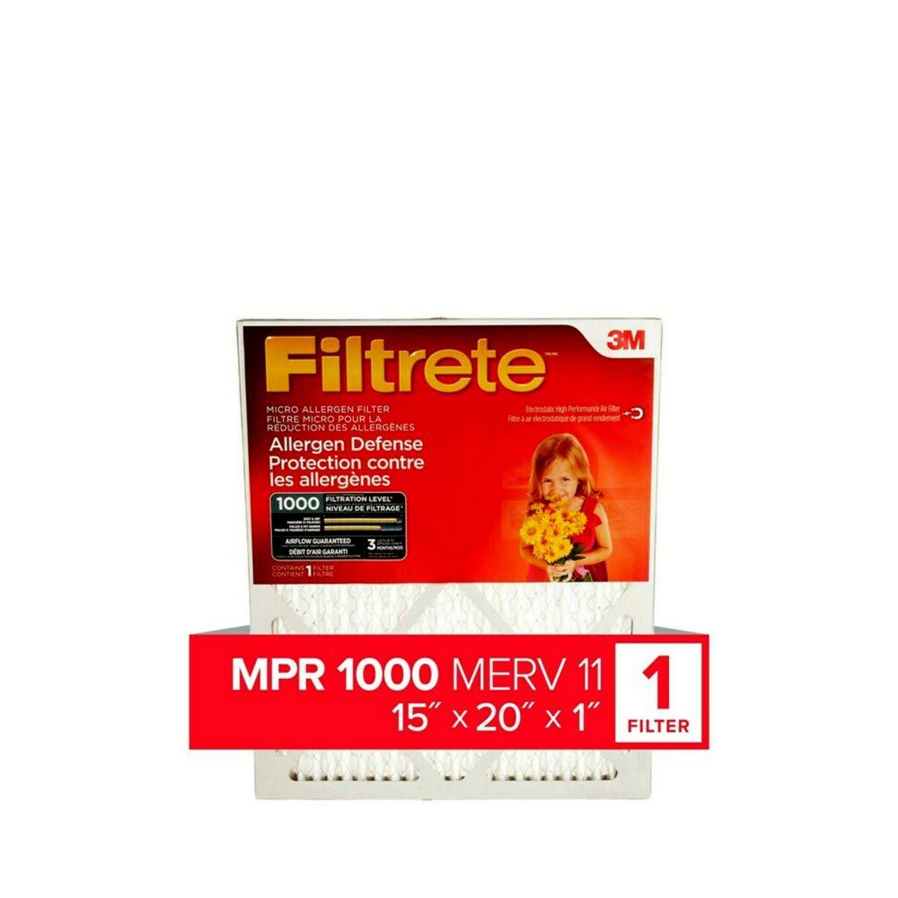 Filtrete Allergen Defense Micro Allergen Furnace Filter, 1000 MPR, 15x20x1,  (9806DC-6C)