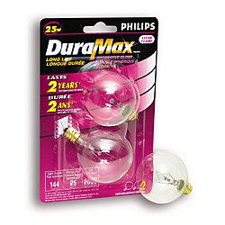 Duramax Lampe à incandescence claire Globe à petit culot, G16 25 W, 2/emballage