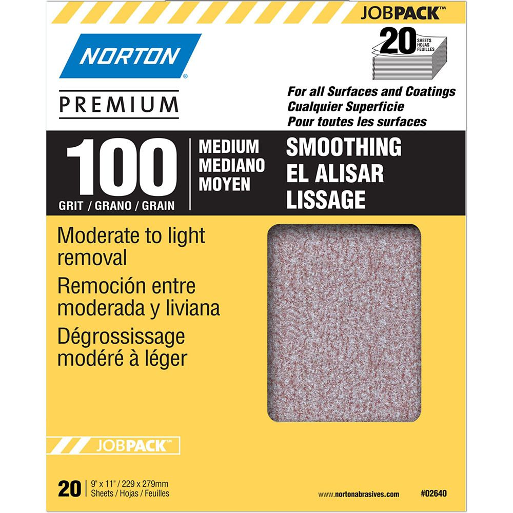 Premium  9 inch X11 inch  Sanding Sheets Medium-100 grit 20 pack
