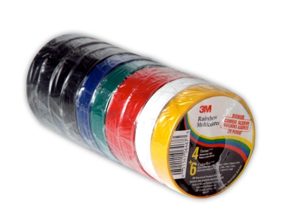 3M Rainbow Multicolours 4 Tartan 1710 General Use Tape and 6 Colourflex Colour Coding Tape