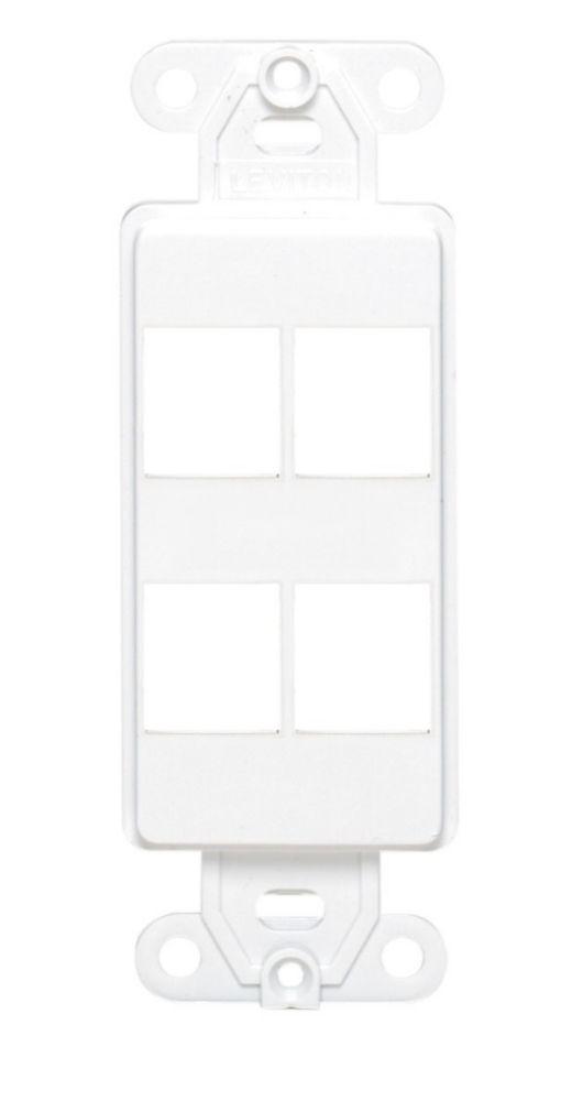 Cadre dinsertion QuickPort Decora, quatre points de connexion, blanc
