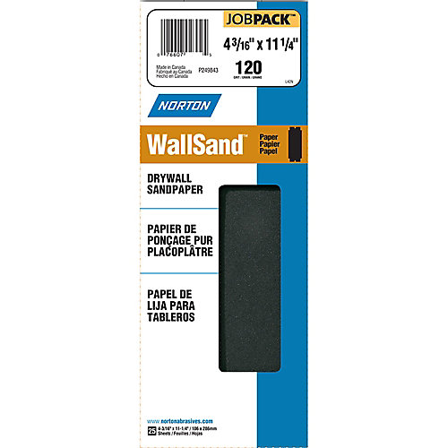 WallSand 4-3/16 inch x11-1/4 inch  Sanding Sheets Fine-120 grit (25-Pack)
