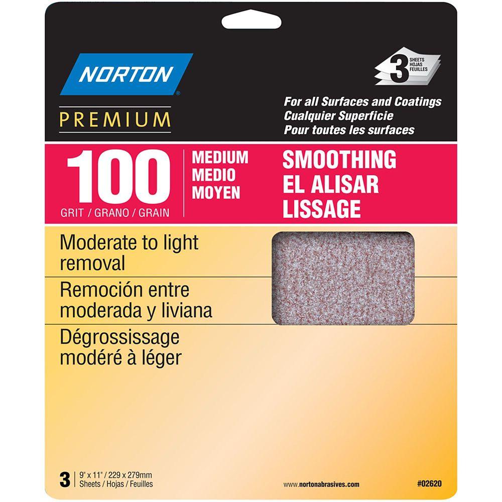 Premium  9 inch X11 inch  Sanding Sheets Medium-100 grit 3 pack