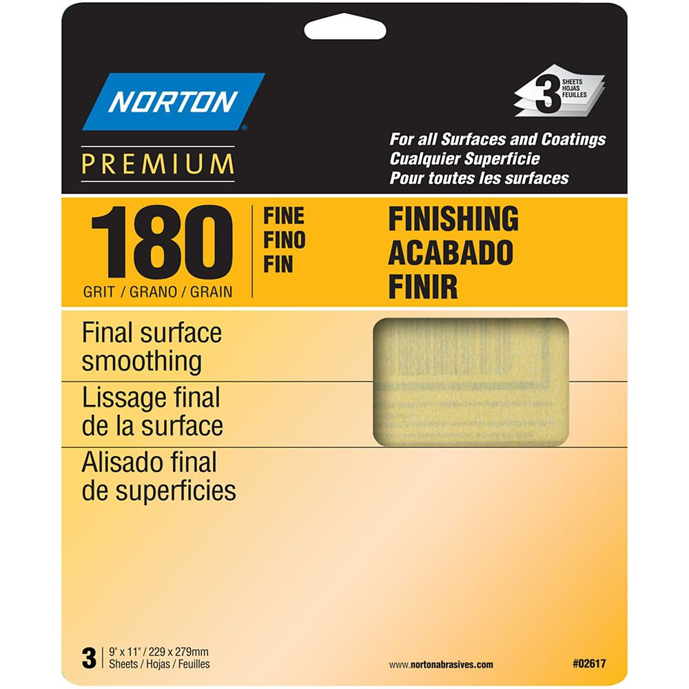 Premium  9 inch X11 inch  Sanding Sheets Fine-180 grit 3 pack