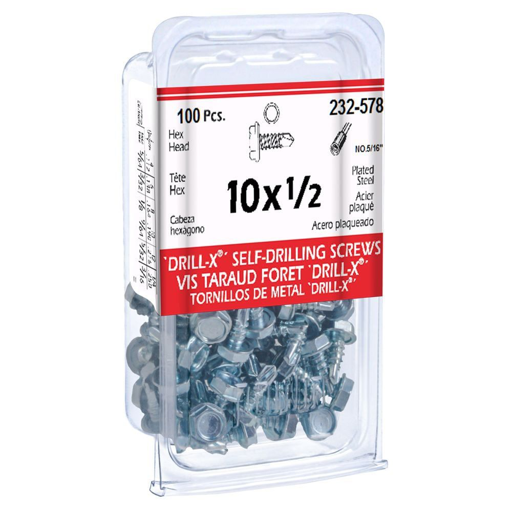 10X1/2 Drill-X Screws Hex Washer Hd