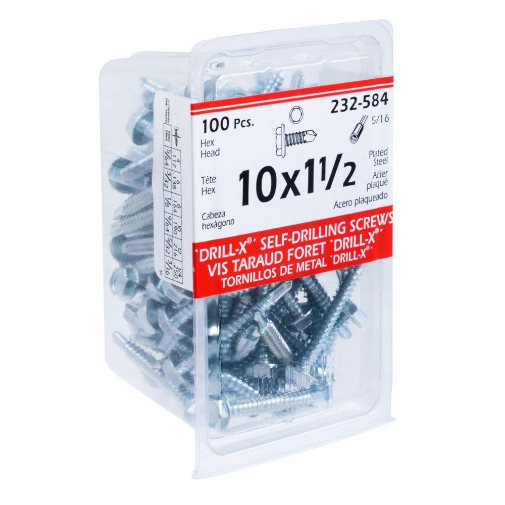 10X1-1/2 Drill-X Screw Hex Washer Hd