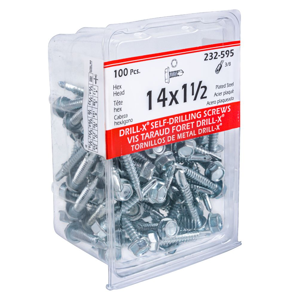 14X1-1/2 Drill-X Screw Hex Washer Hd
