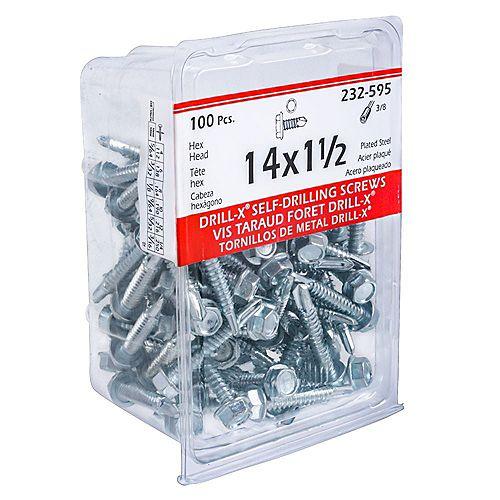 Paulin #14 x 1-1/2 -inch Head Hex Washer Drive Steel Metal Screws Self-Drilling Zinc Plated - 100pcs
