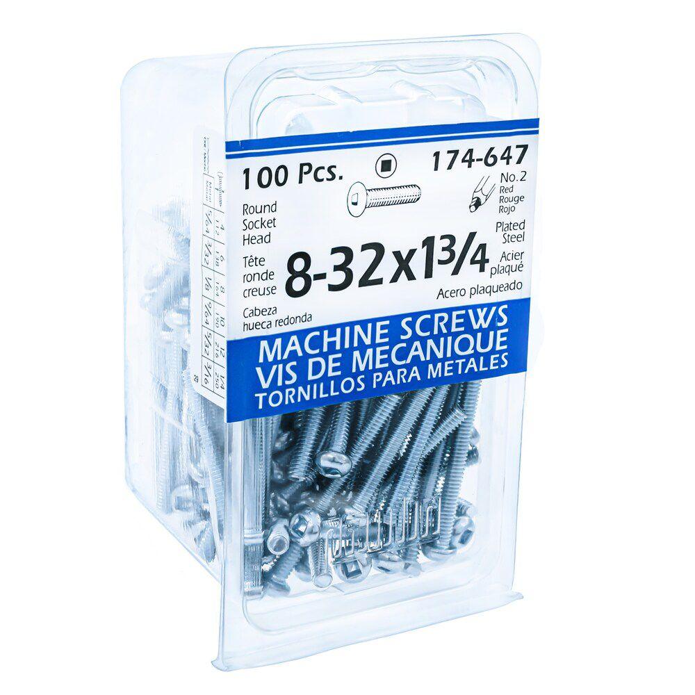 8-32x1-3/4 Rd Soc Mach Sc Pltd 100Pc