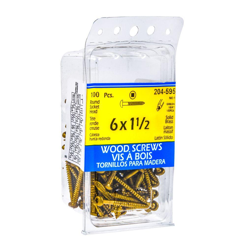 6x1-1/2 Rd Hd Socket Brs Wood Screw