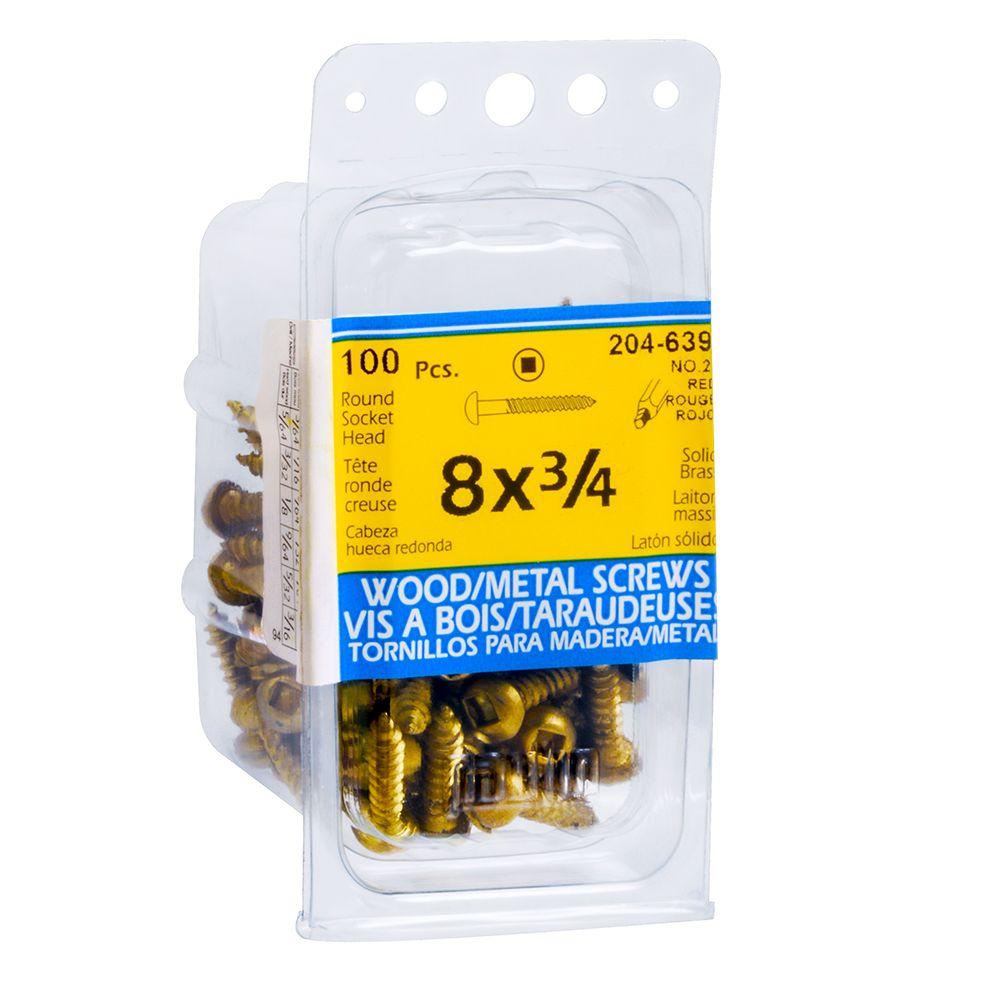 8x3/4 Rd Hd Socket Brass Wood Screw