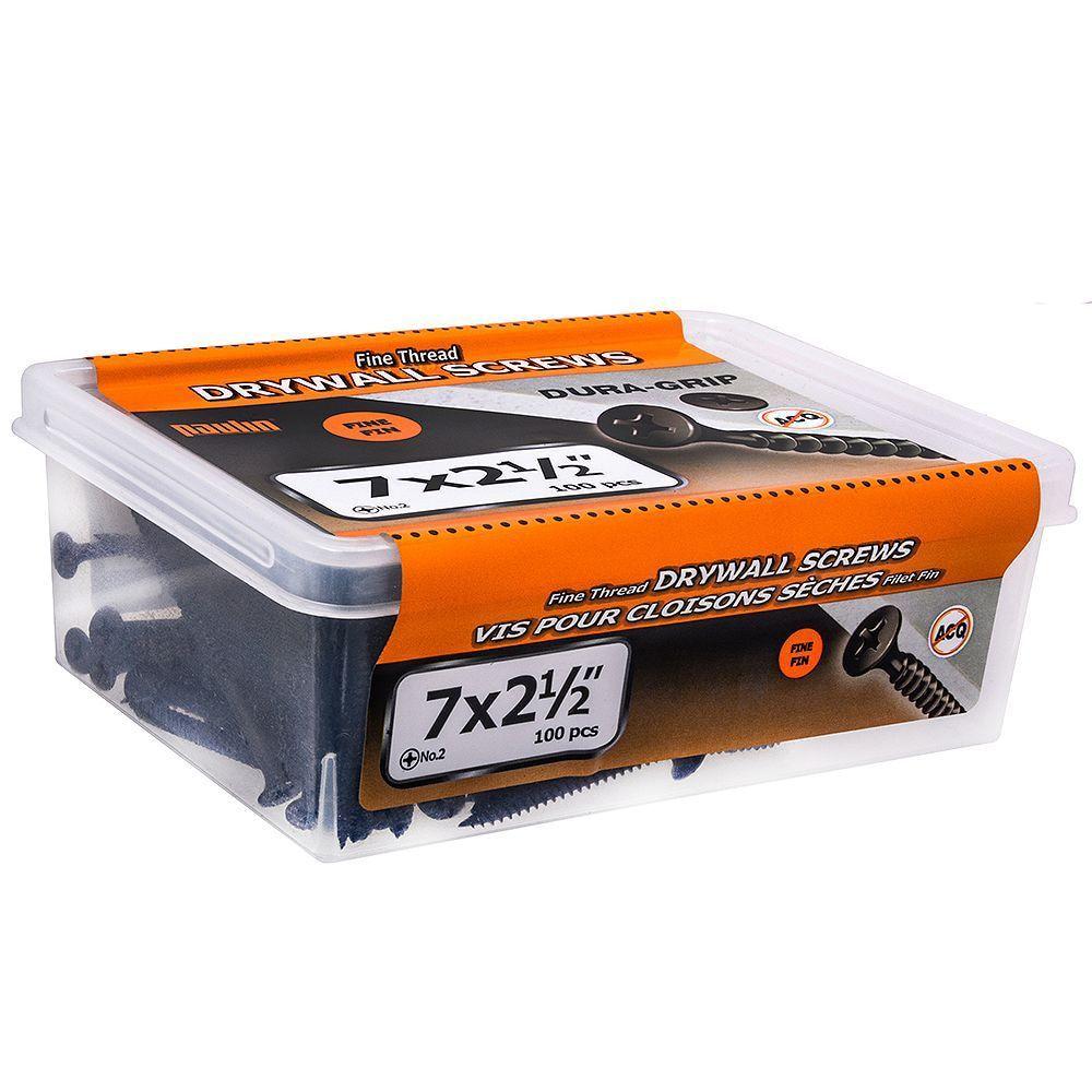 7x2-1/2 Fine Drywall Screws 100Pc