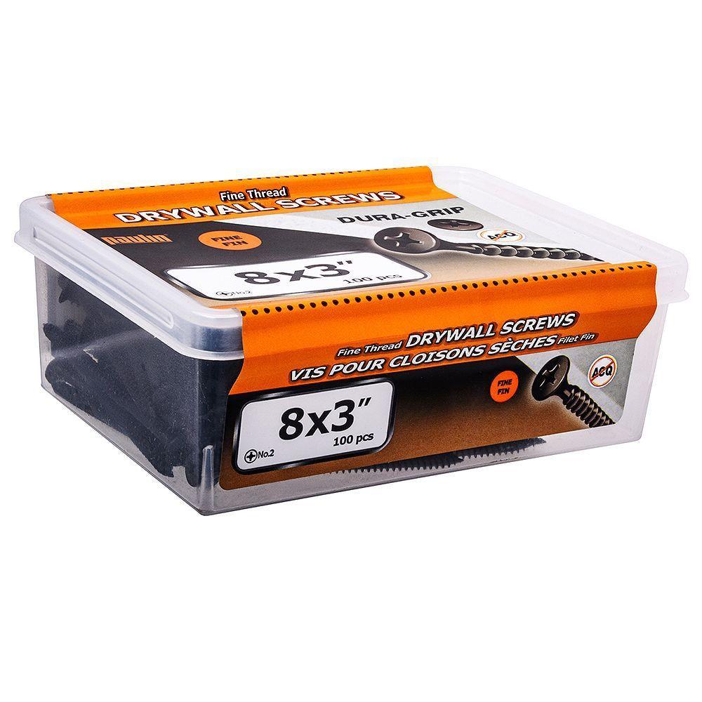 8x3 Vis Pour Mur Sec Filet Fin