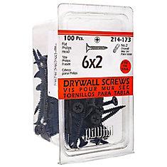 Vis à tête plate Phillips Drive à filetage fin pour cloison sèche à tête plate #6 x 2 po - 100 pièces