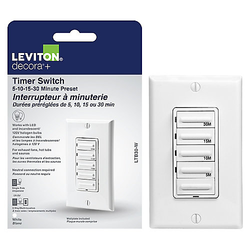 Preset 30 Minute Digital Countdown Timer Switch in White