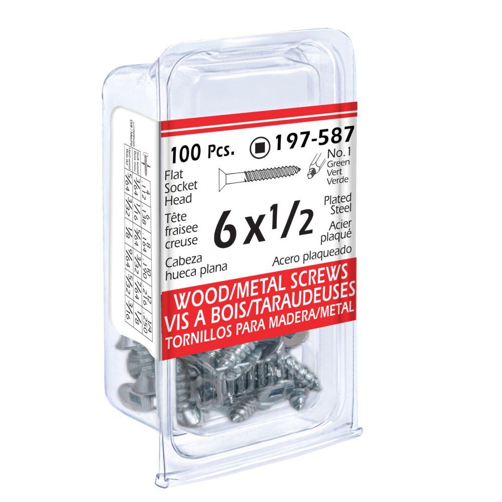 6x1/2 Flat Soc Wood Screw 100/Bx