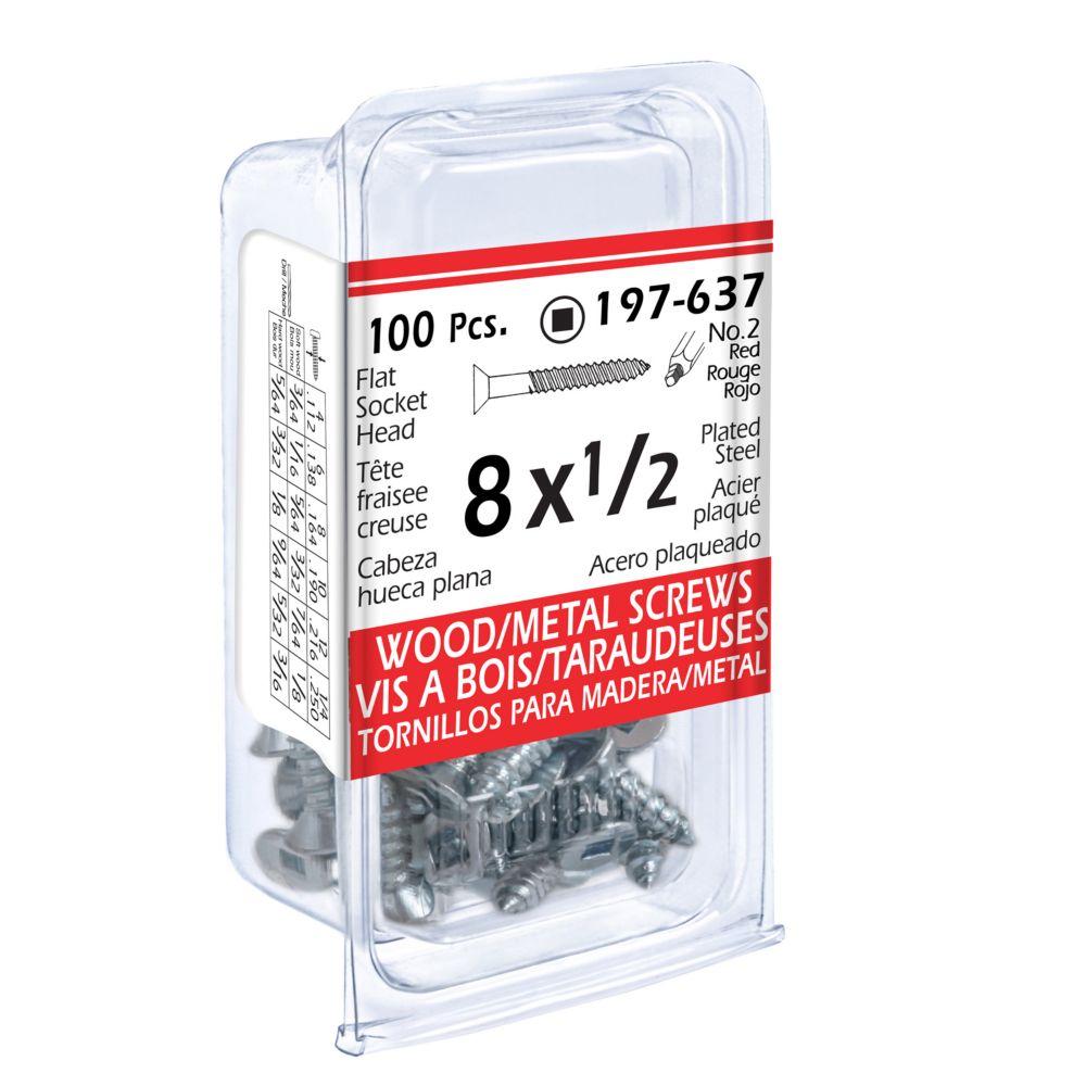 8x1/2 Flat Soc Wood Screw 100/Bx