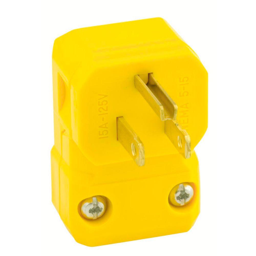 Leviton 15 Amp Python Angle Plug, Yellow