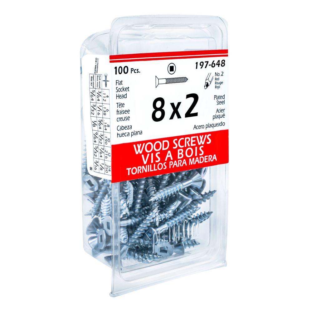 8x2 Flat Hd Soc Wood Screw 100/Bx