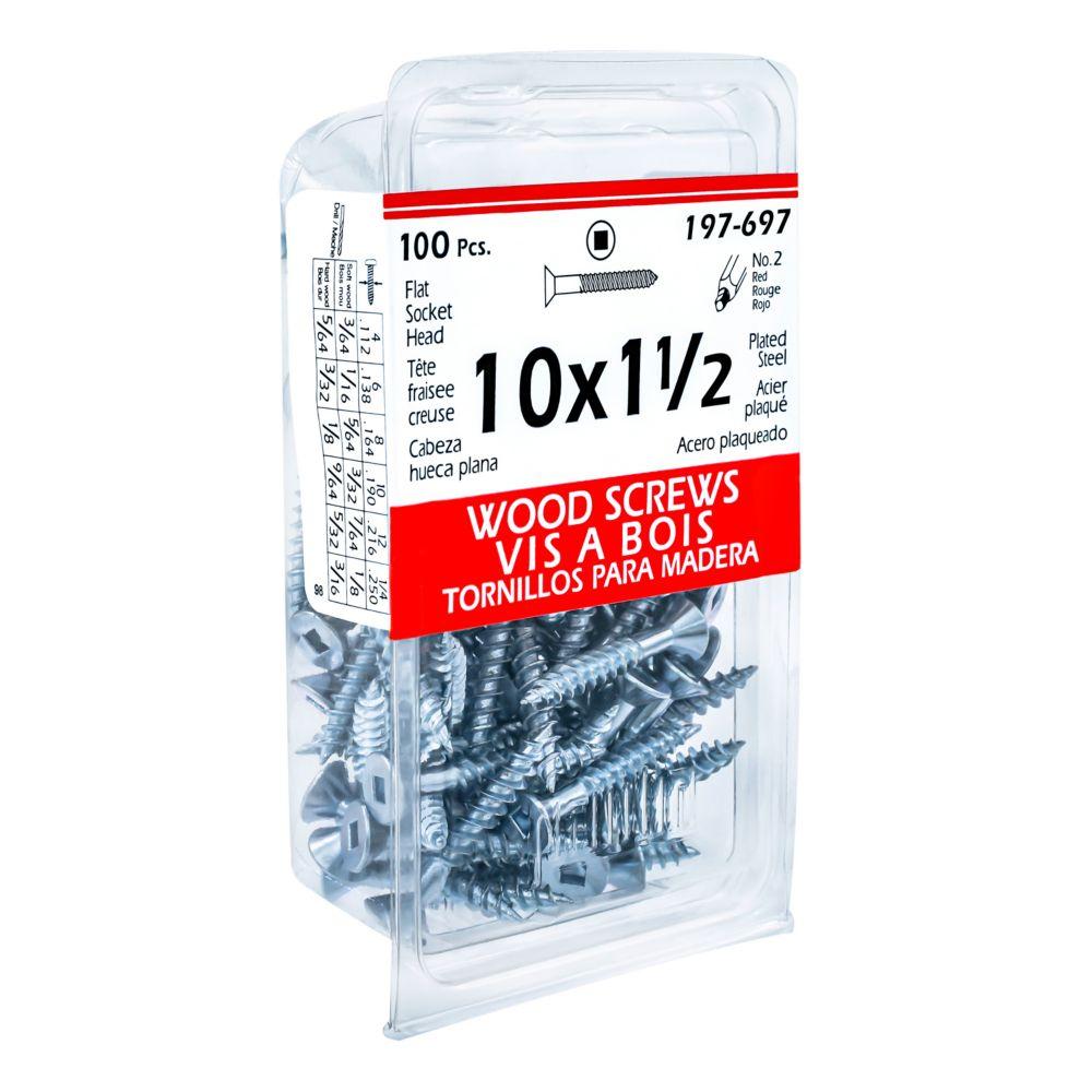 10x1-1/2 Flt Hd Soc Wood Screw 100/B