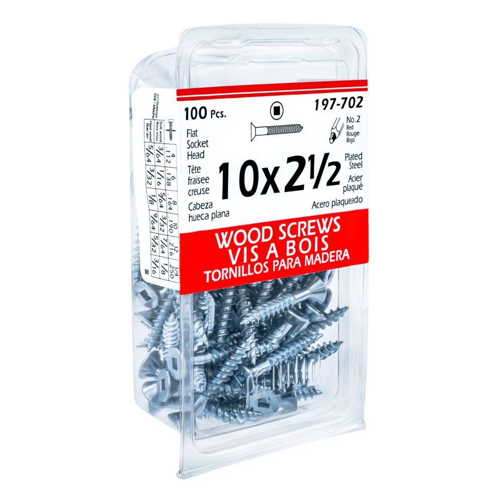 10x2-1/2 Flt Hd Soc Wood Screw 100/B