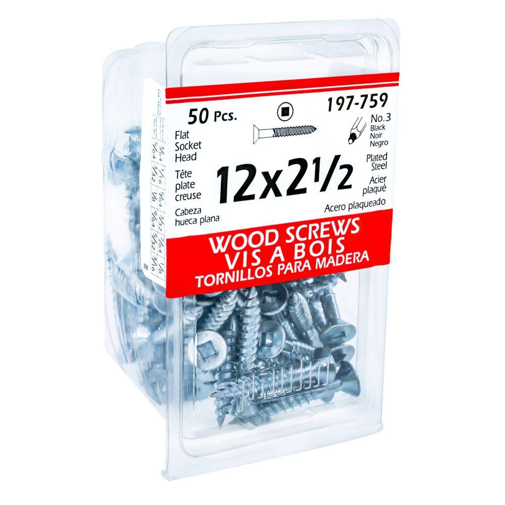 12x2-1/2 Flat Soc Wood Screw 50/Bx
