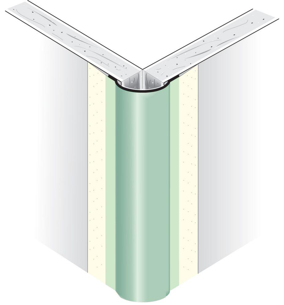 Renfort d'angle extérieur métallique à face de papier, arrondi, rayon de 1/2po, 8pi