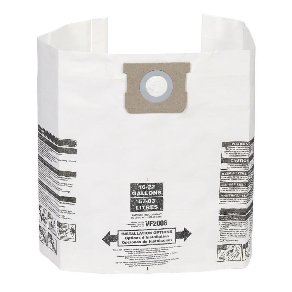Sacs de collecte de poussière pour aspirateurs Shop-Vac de 57 à 83 litres (paquet de 3)