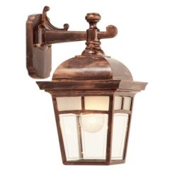 Snoc Imagine, Downlight Wall Mount, Frosted Pattern Glass Panels, Antique Copper