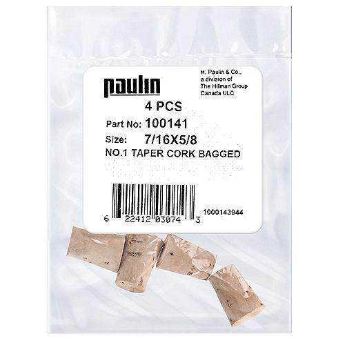Paulin 7/16X5/8 #1 Taper Cork 4Pc