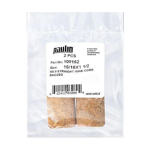 Paulin 15/16X1-1/2 #9 Straight Wine Cork 2pc.