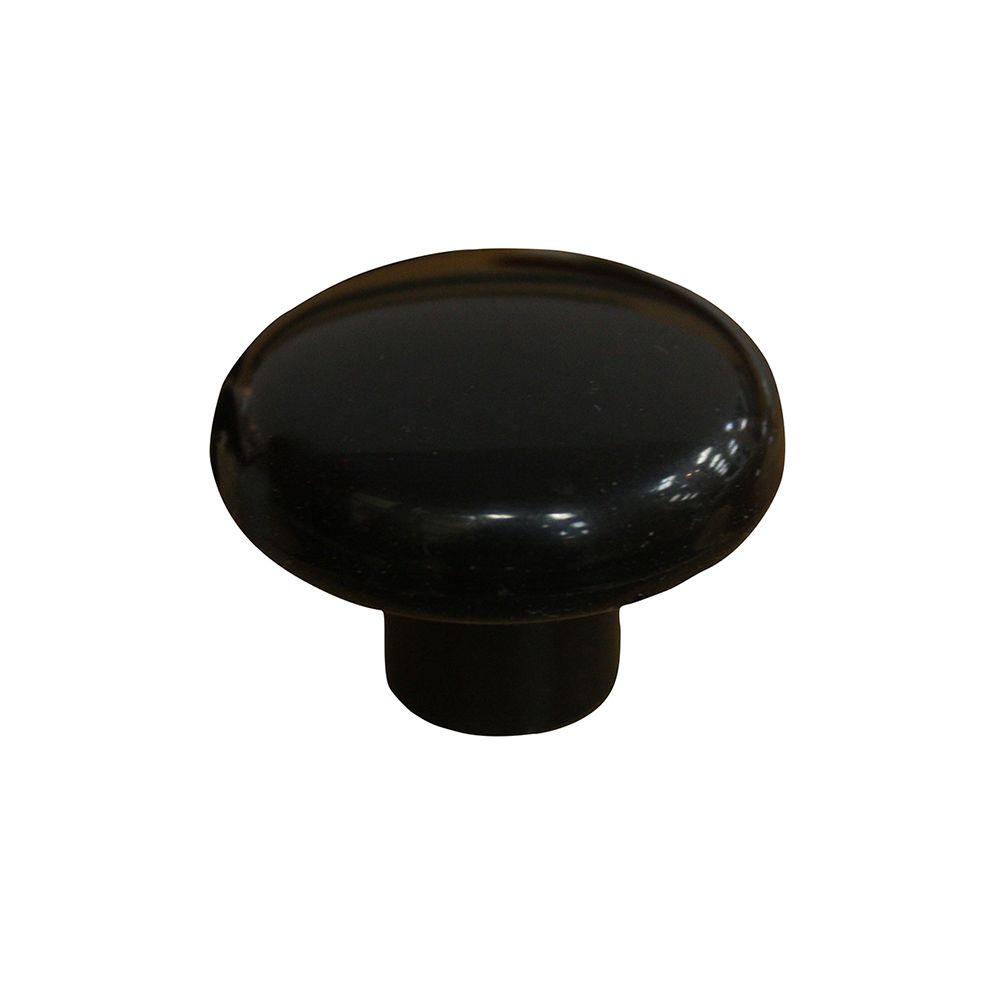 Classic Plastic Knob - Black - 38 Mm Dia.