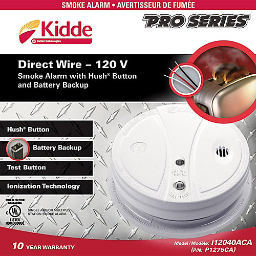 Pro Series 120V Hardwire Smoke Alarm with Hush Button and Battery Backup