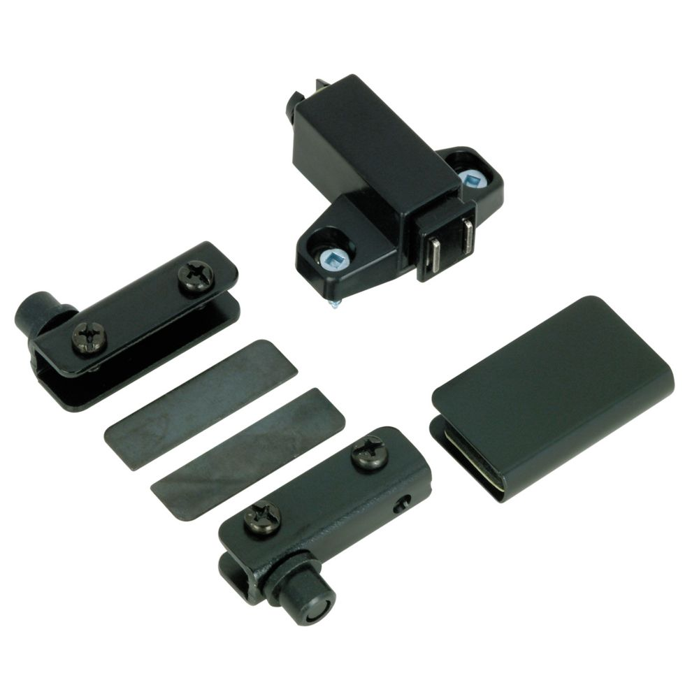 Black glass door hinge