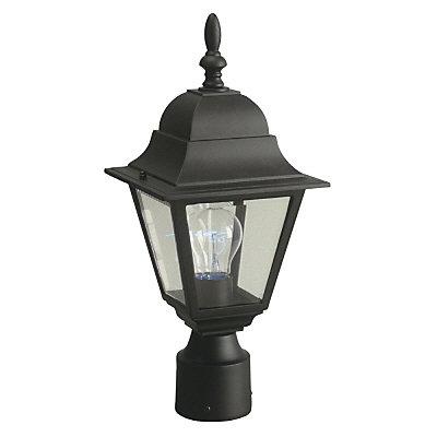 Lampadaire d'extérieur noir, à une ampoule, 100W, avec diffuseur en verre biseauté transparent