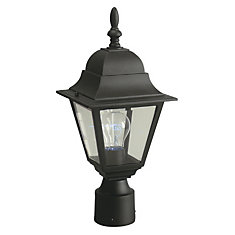 Outdoor Post Lantern With Clear Bevelled Glass in Black