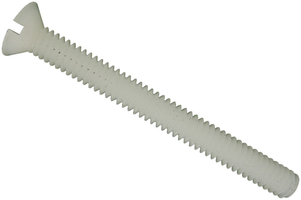 8-32X1-1/4 Flat Slot Hd Nylon Mach Screw