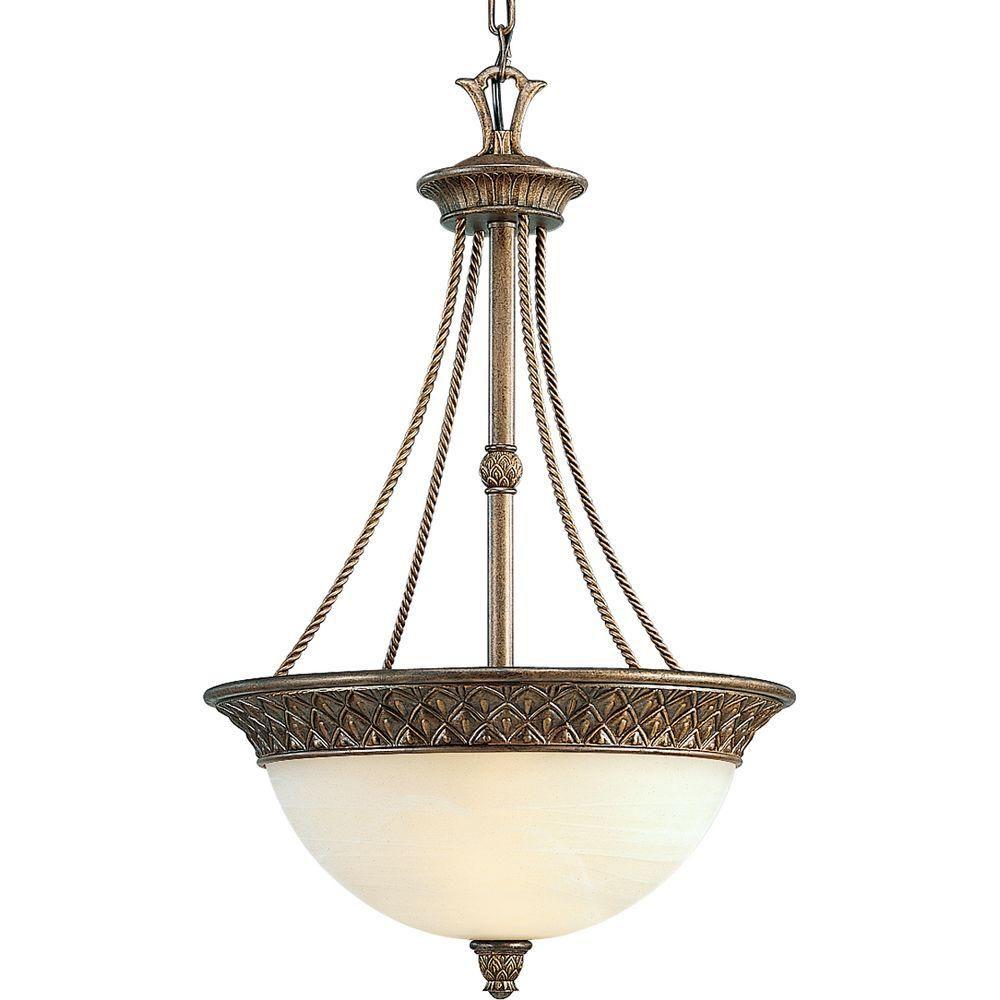 Foyer Chandelier Home Depot : Progress lighting savannah collection burnished chestnut